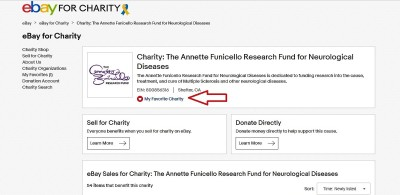 "1.  If you haven't already, you will first need to add AFRFND to your list of favorite charities by clicking the icon on our ""Ebay for Charity"" page."